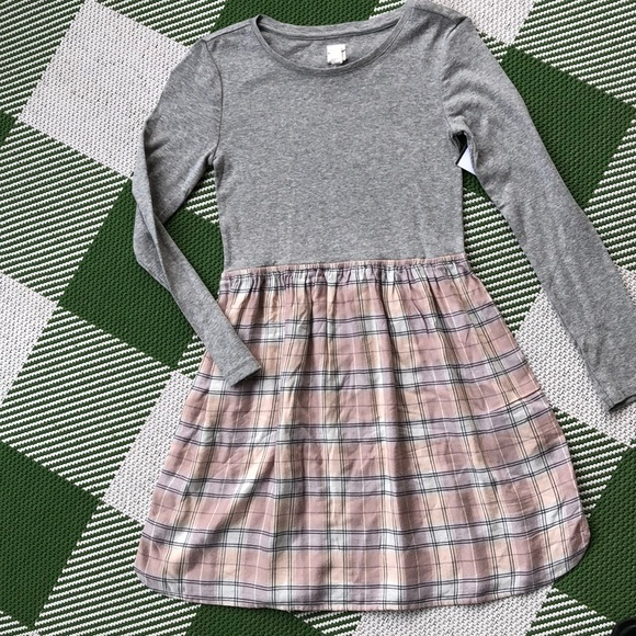 GAP Other - Gap girls pink and gray plaid dress with silver
